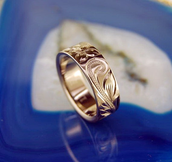 8mm titanium ring with hawaiian scroll designs by