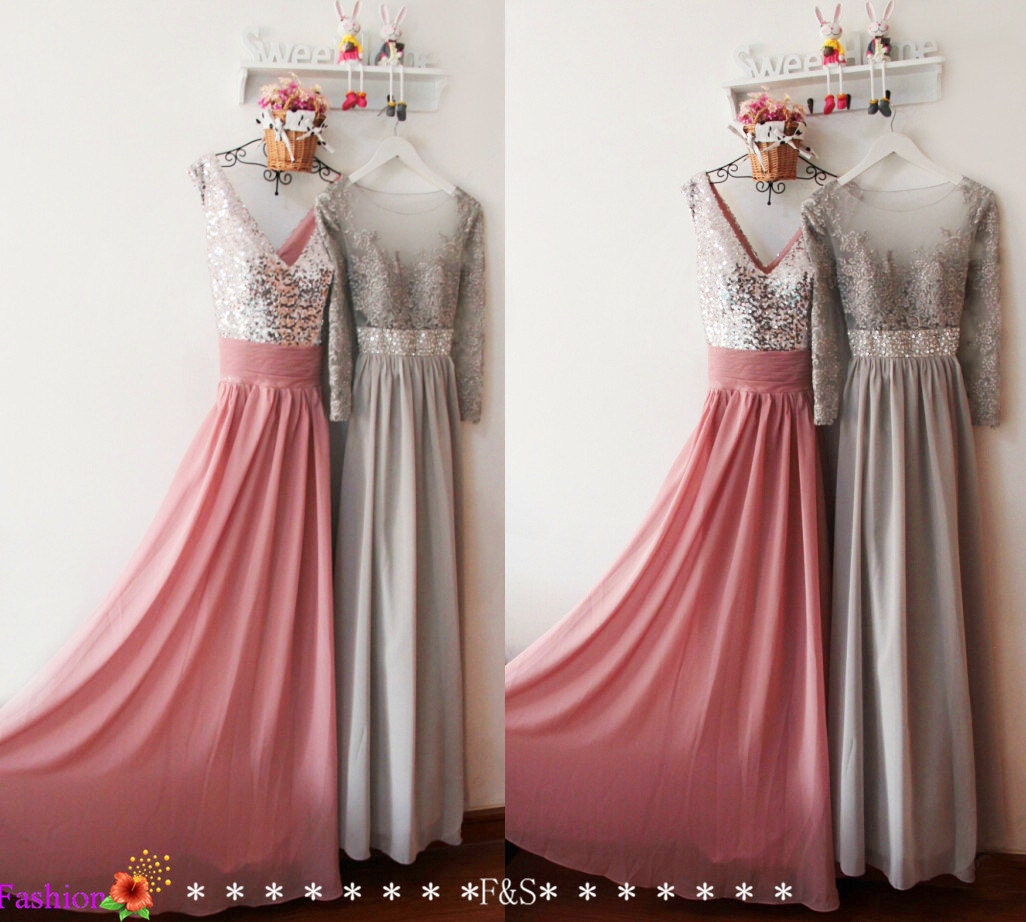 Long sleeve lace prom dresssexy dusty pink bridesmaid for Dusky pink wedding dress
