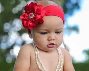 Baby Headband Headwrap, Red Baby Headband, Christmas Headband, Red Flower Headband, Girls Headband, Baby Bows, Red Flower Headband, 827