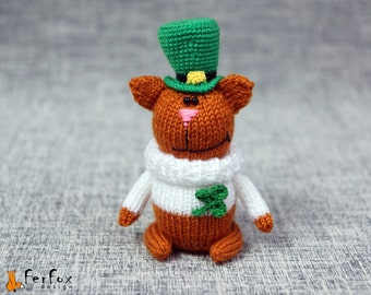 St. Patrick's day cat, knitted cat, hand knit toy, stuffed animal, softie cat - Connor the Irish Cat
