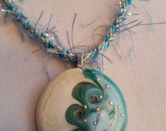 Ocean Waves Glass Lampwork Cabochon on Kumihimo Braided Necklace