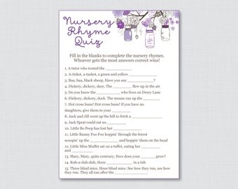 Nursery Rhyme Game Baby Shower Mason Jar In Purple   Printable Instant  Download   Purple Mason