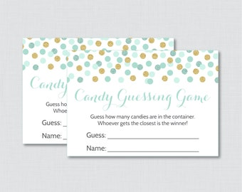 Mint and Gold Baby Shower Candy Guessing Game Printable - Guess How Many Candies, M&Ms, Jelly Beans, etc - Instant Download - 0008-m