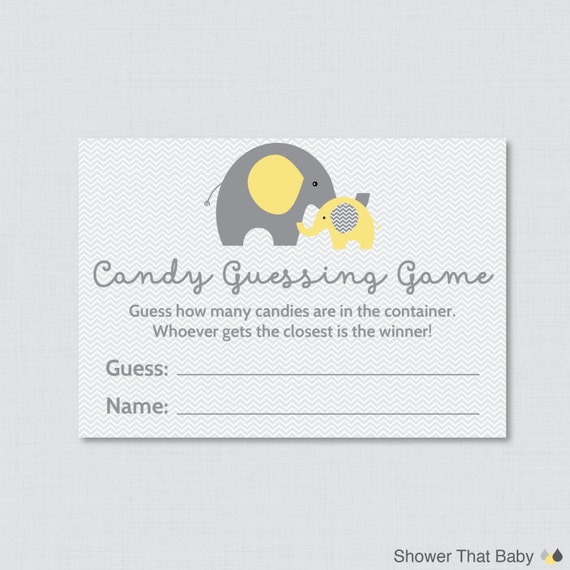 Candy Baby Shower Game: Elephant Baby Shower Candy Guessing Game Printable Guess How