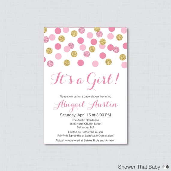 invite pink and gold glitter polka dots baby shower invites baby