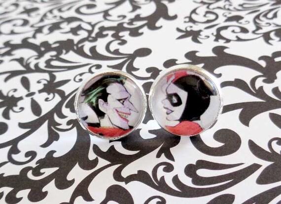 Joker and harley quinn love studs villain jewelry joker for Harley quinn and joker jewelry