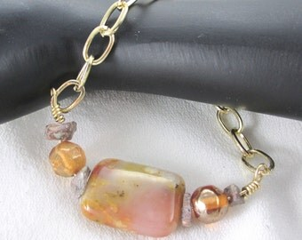 Gemstone Bracelet, Agate and jasper, Chain link Bracelet with Agate Gemstone