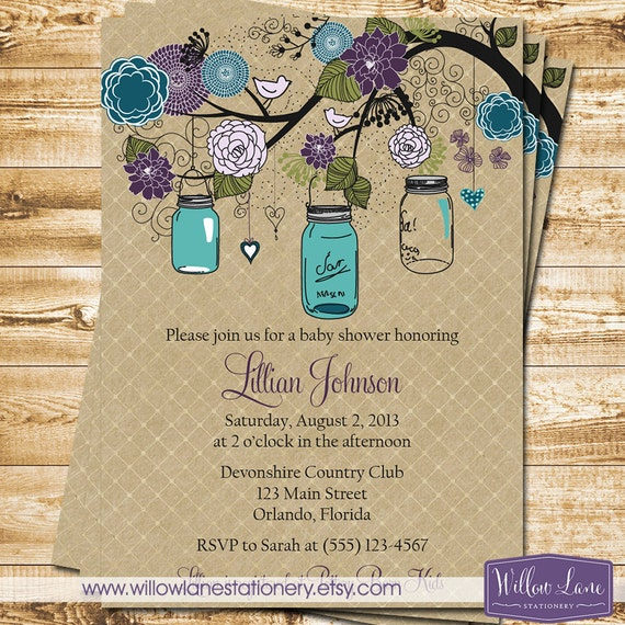 baby shower invitation mason jar baby shower invite peacock purple