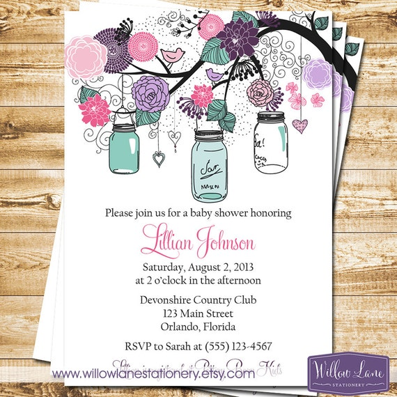 baby shower invitation mason jar baby shower invite pink purple