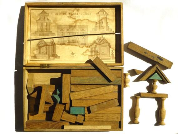 Très ancien jeu de construction français en bois Jouet fin ~ Jeu En Bois Ancien