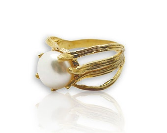 14K solid Gold Pearl Ring birthstone ring engagement gift for her pearl engagement ring