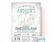 Boy Winter Onederland Invitation - First Birthday Invite Arctic Birthday - Custom Font Color - Polar Bear Invite - Printable No.598