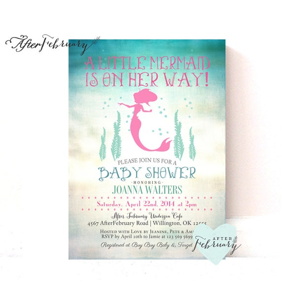 mermaid baby shower invitation little mermaid shower invite