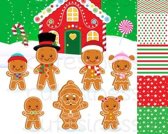 Gingerbread Digital Clipart,  Gingerbread Clipart, Ginger bread clipart, Christmas clipart