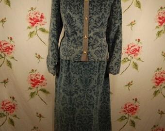 end of summer sale Designer Vintage Aqua Embossed Velvet Jacket and Skirt