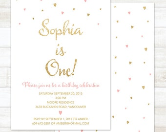 pink gold first birthday invitation pink gold glitter hearts girl first 1st birthday party invite printable cute digital
