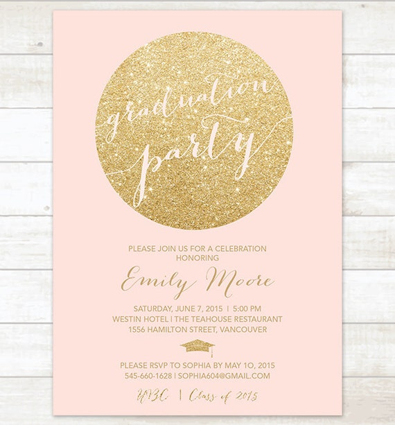 pink and gold graduation party invitation pink and gold – 2015 Graduation Party Invitations