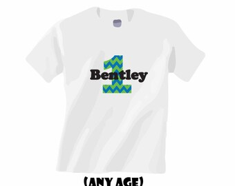 First birthday boy shirt.  Personalized.  Any age!  Chevron print.