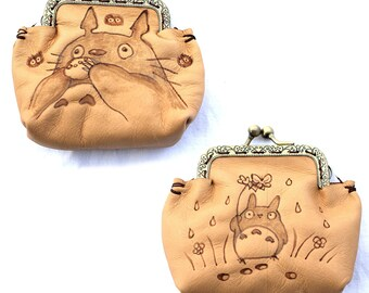 Leather purses pyrography Tonari No Totoro