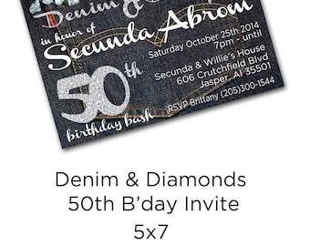 Denim and Diamonds 50th Birthday Bash Invite!!!!!!