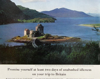 1963 British Travel Ad - Eilean Donan Castle - Scottish Highlands Loch - 1960s Scenic Island Fortress Britain - Vintage Travel Posters