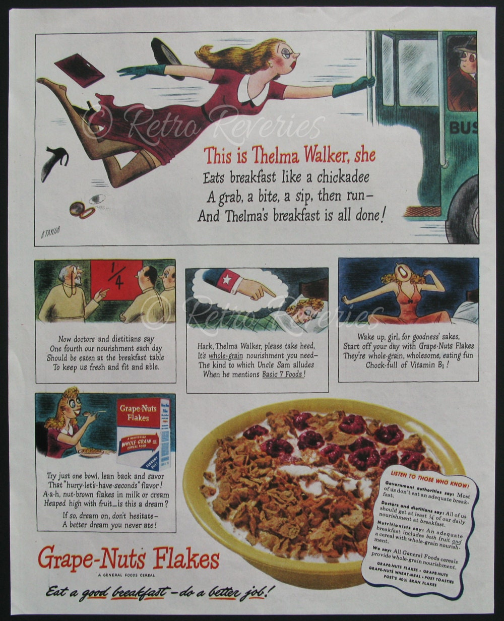 1944 Grape Nuts Flakes Ad Vintage Cereal Ads 1940s Thelma