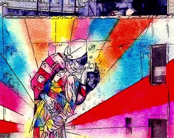A Kiss on the High Line: A Photo Watercolor Art Print