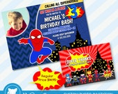50% OFF SALE  Superhero Invitation / Spiderman Invitation for Supherhero Birthday Party / Superhero Invite - Digital Download File