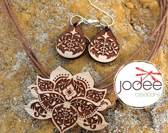 Lotus Flower Design Pendant Necklace and Earring set laser cut wood
