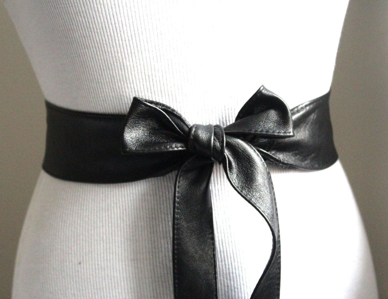 black sash belt wrap belt leather obi belt
