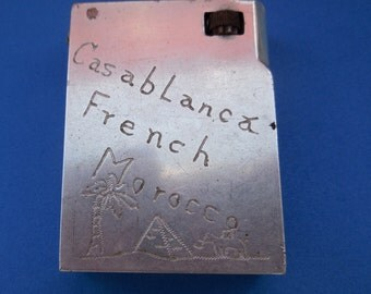 1944 WWll  Signed U.S.N. TRENCH ART  Lighter- Casablanca, French Morocco