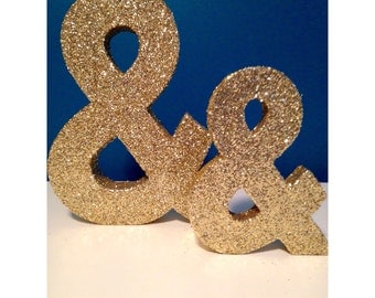 "Ampersand ""&"" AND Glitter Decoration - 8 or 12 inch height -Wedding, Birthday, Shower Decor, Engagment Photo Prop"