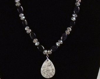 Silver Leaf White Howlite Tear Drop Necklace with Coordinating Bracelet and Earrings- You choose- buy one or set - Ships Worldwide