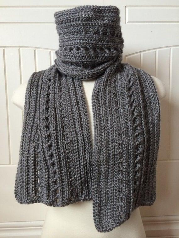 Crochet Mens Scarf : ... Scarf - Handmade, Custom Crochet Mens Scarf, Unisex Scarf, Like Knit