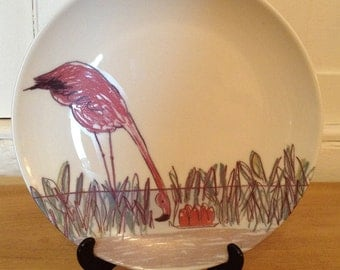 Julian the Flamingo: Illustrated ceramic plate