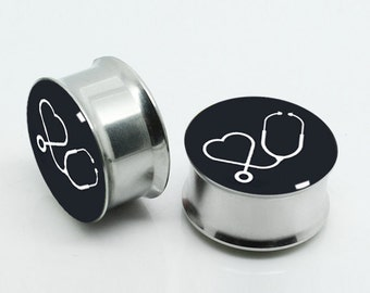 Stethoscope Ear plugs (2pcs pairs),Doctor's Ear plugs gifts, Resin Pairs Earlets Tunnels, Titanium Screw On Backs