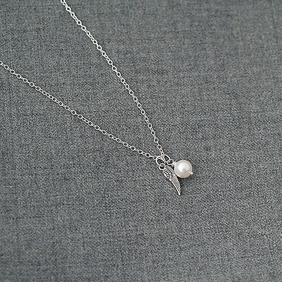 Delicate Necklace, Swarovski Pearl Necklace, Angel Wing Necklace