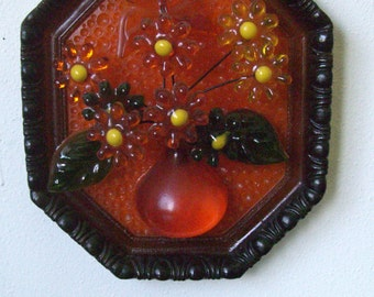Vintage Lucite Wall Hanging Flowers in a Vase Butterfly