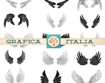 Wing Clip Art - 18 Wing Set - Angel Wings Clipart - Graphic Design Wings - PNG Transparent - for Altered Art Design Projects