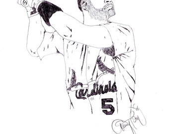 Albert Pujols Drawing St. Louis Cardinals 5 Baseball Player Art Pen Drawing MLB