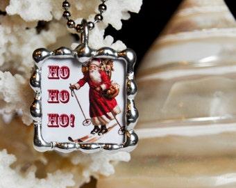 Soldered Glass, Christmas Pendant, Santa Claus Pendant, Vintage Santa, Stocking Stuffer, Christmas Gift Idea, Handmade Christmas Jewelry