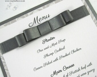Just Grand Damask Handmade A5 Flat Wedding Menu Card
