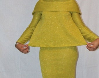 Shimmer knit mustard green off the shoulder sweater and pencil skirt