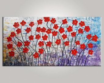 XL Oil Painting Red Poppy Flower Oil Painting Canvas Painting  Framed Painting Canvas Painting Abstract Painting Autumn Farm Oil Painting