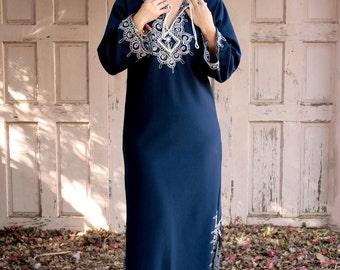 Galabya Blue, Long Kaftan, Late-80s Vintage, Flaming Long Kaftan, Dress Jalabiya, Embroidered, Boho Maxi, Ethnic Hippy, NET - A -  PORTER