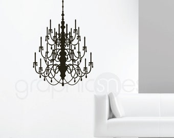 CRYSTAL CHANDELIER wall decal - Removable surface graphics for interior decor by GraphicsMesh