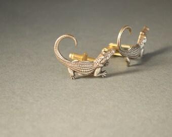 Alligator Cufflinks Men's Cufflinks Alligator Cufflinks Florida Gators Cufflinks FSU Cufflinks Steampunk Style Antique Brass Men's Gifts