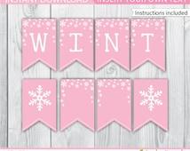 Winter Onederland Banner / Pink Winter Onederland Banner / Winter Wonderland Banner / Winter Onederland Decoration / Winter Printable