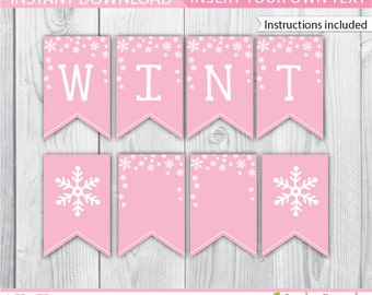 Winter Onederland Banner / Pink Winter Onederland Banner / Winter Wonderland Banner / Winter Onederland Decoration / Winter Printable