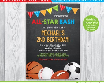 sports invitation / sports birthday invitation / boys sports invitations / 1st birthday sports invitation / baseball invitation / INSTANT